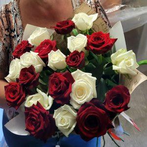 21 красная и белая роза в Чернигове фото