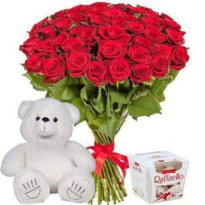 """подарок 51 роза, мишка и """"Raffaello"""""""