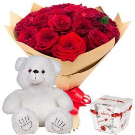 """подарок 25 роз, """"Raffaello"""" и мишка"""