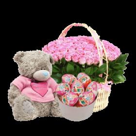 подарок Для маленькой розы, мишка и сладости
