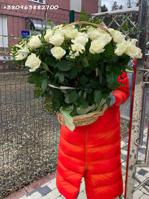 белые розы в корзине фото